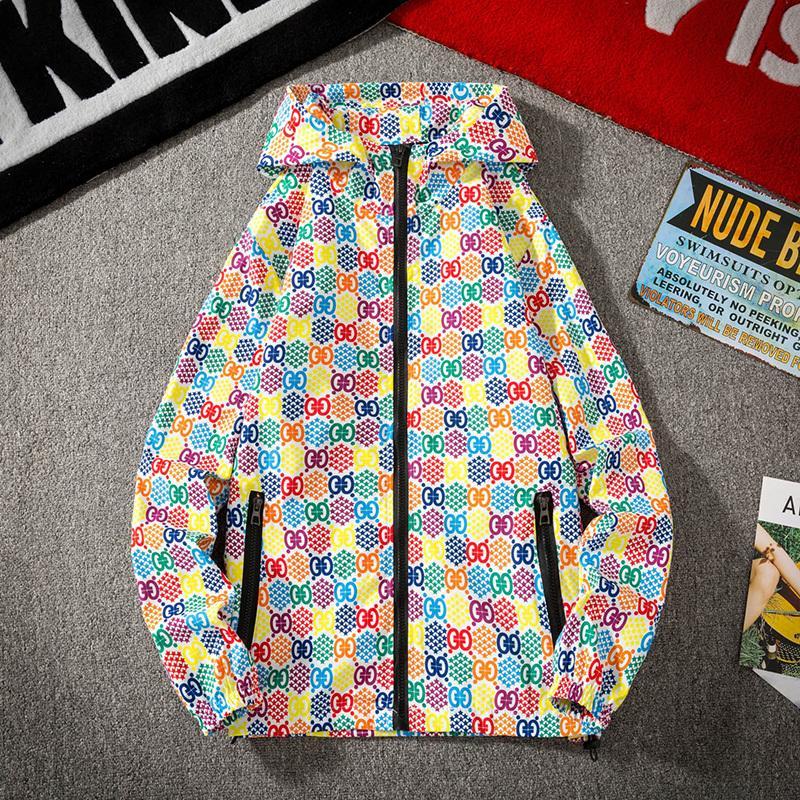 Spring New Parka Fashion Printing Chaqueta, chaqueta con capucha macho, personalidad Parejas versátiles de la ropa E6MH