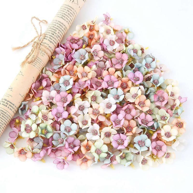 100pcs décoration de mariage 2cm mini de soie artificielle DAISY Têtes de fleur pour coiffe à la maison Guirlande Couronne DIY Scrapbooking Decor1