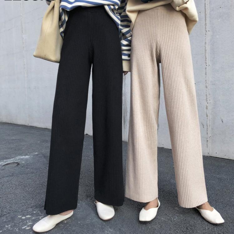 Женские брюки CAPRIS 2021 осень зима повседневная прямые женщины женские шнурки свободно высокая талия вязаные широкие брюки