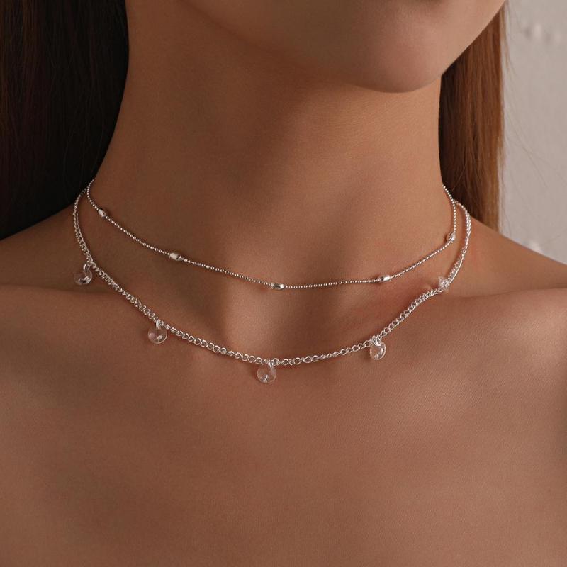 Boho Layered Halskette Pailletten Frauen Multi Circles Halskette in Sliver Farbe mit Runde Scheibe Anhänger Choker Schmuck Geschenk