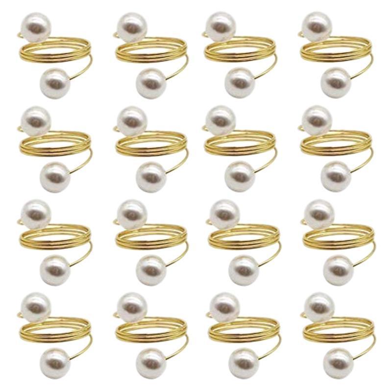24 adet Inci Peçete Yüzük Düğün Peçete Yüzükler Metal Yemek Masası Dekorasyon için Metal Kullanımlık Dekoratif Altın