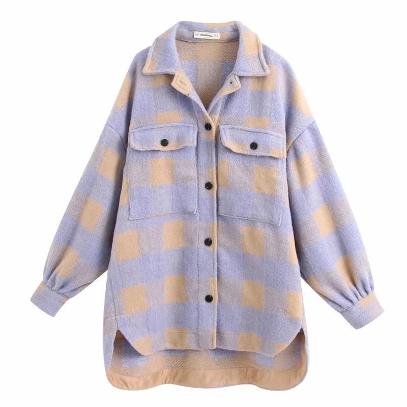 Yeni Kadın Eğlence Mor Ekose Gevşek Yün Gömlek Ceket Kadın Çift Cepler Boy Dış Giyim Coat Chic Uzun Kollu Tops CT387 201017