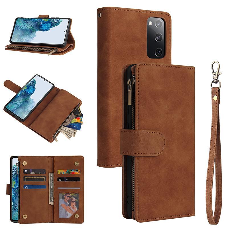 Mate de cuero del tirón aficionados Galaxy FE Editiom Zipper titular de la cartera monedero para Samsung S20 caja del teléfono de Lite