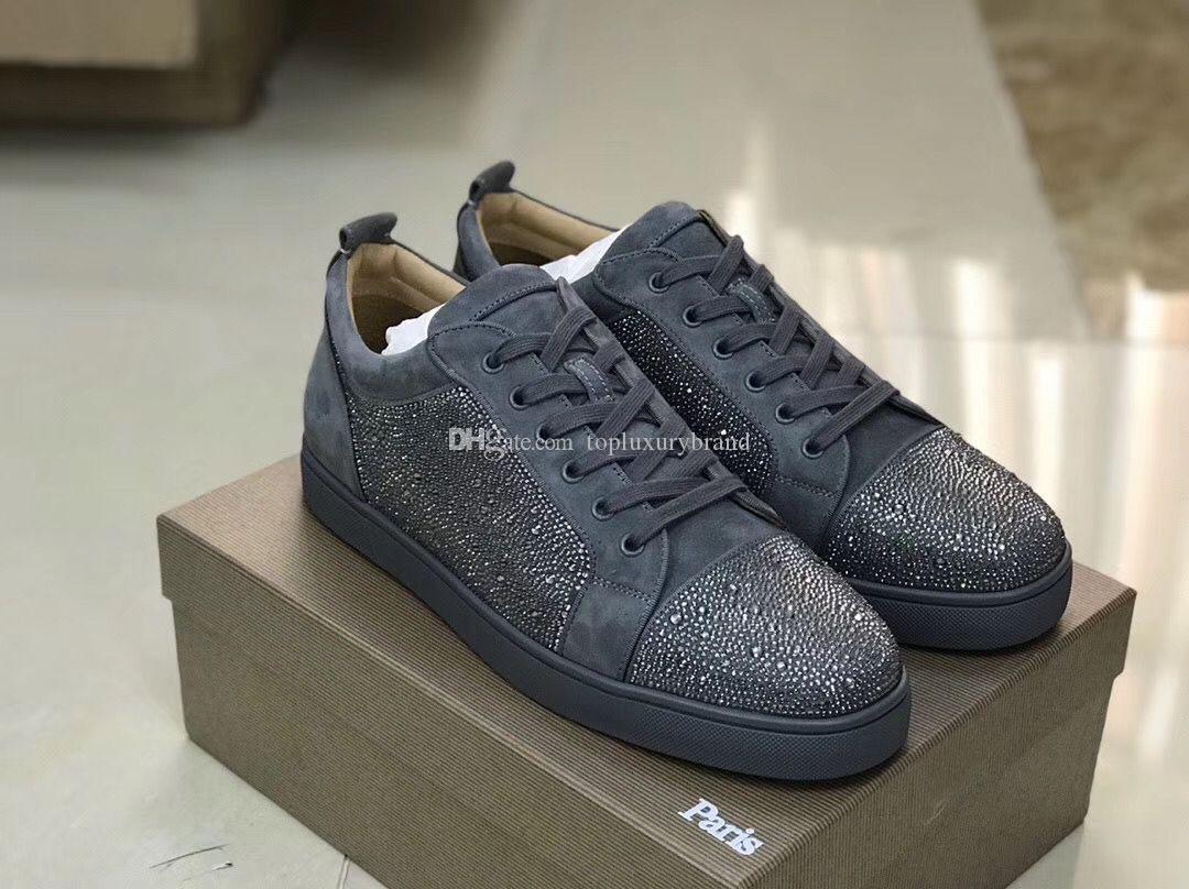 Großhandel Markenschuhe Paris Deeins rotes Boden niedrig Top Männer Schuhe, Wildleder Echtes Leder mit Strass Rhinestone Turnschuhen Grey.schwarz