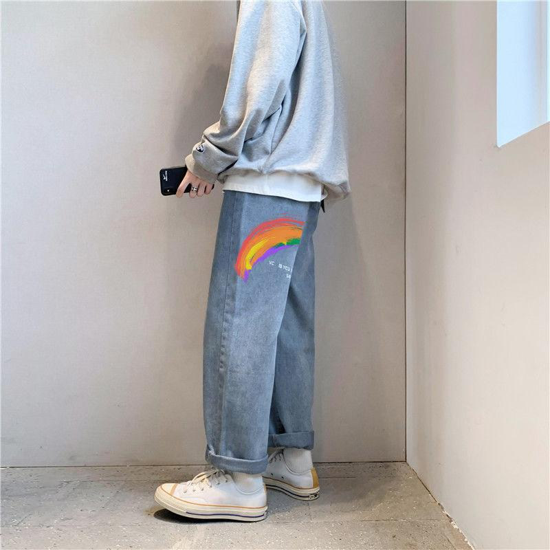 2020 Autunno e inverno New Youth Popular Color Color Solid Color Rainbow Stampa Jeans allentati Moda casual pantaloni da gamba dritta