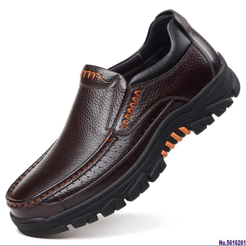 Vente-2020 Hot Chaussures en cuir véritable homme Mocassins souple en cuir de vache Hommes Chaussures Casual 2020 Chaussures Nouveau Homme Noir Brown Slip-on