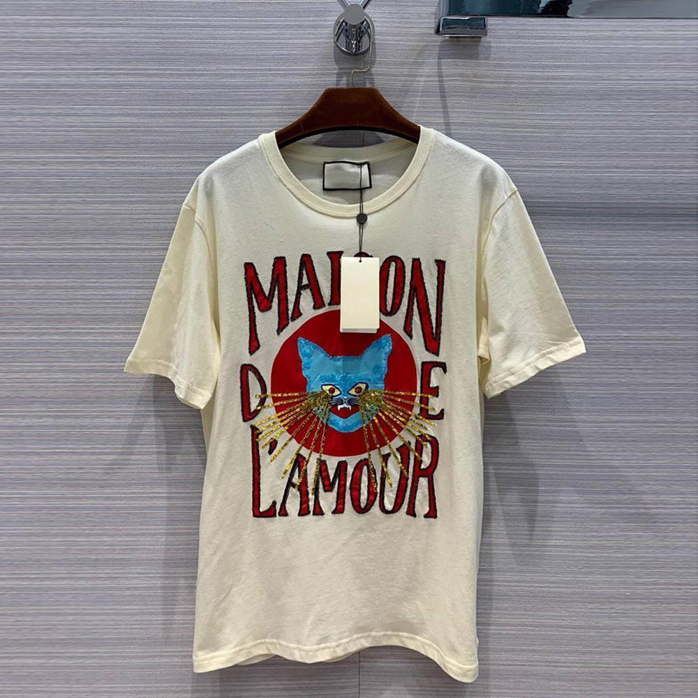 2020 Nuevo diseño de la pista Vintage Gato Imprimir camiseta Mujeres O-cuello de manga corta lentejuelas de lentejuelas Tops de lujo Casual suelto camiseta Y200412