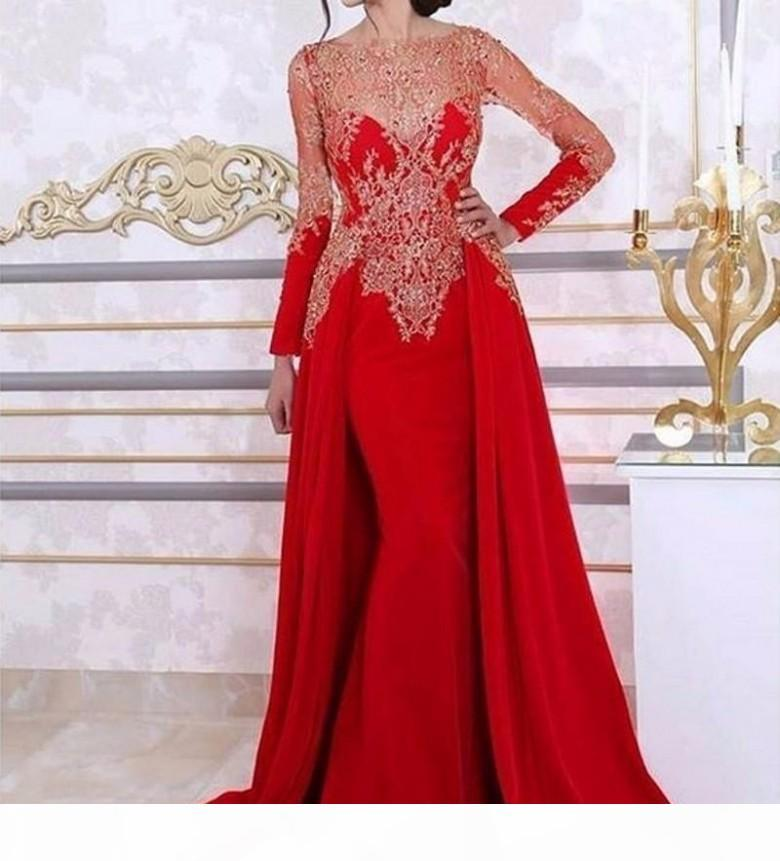 Arabic Red Long Sleeve Mermaid Evening Dresses With Detachable Skirt Lace Beading Sequin Kaftan Formal Women Party Gown