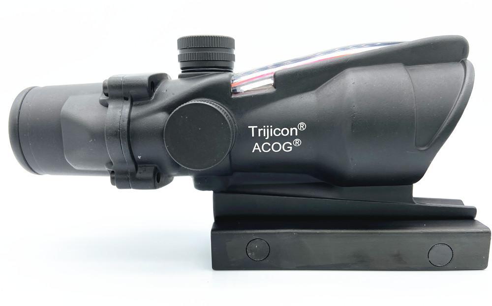 ACOG 4X32 Stil Gerçek Fiber Optik Kırmızı Crosshair Gerçek Kırmızı veya Yeşil Fiber Kaynak Düellosu Aydınlatılmış Tüfek Kapsam