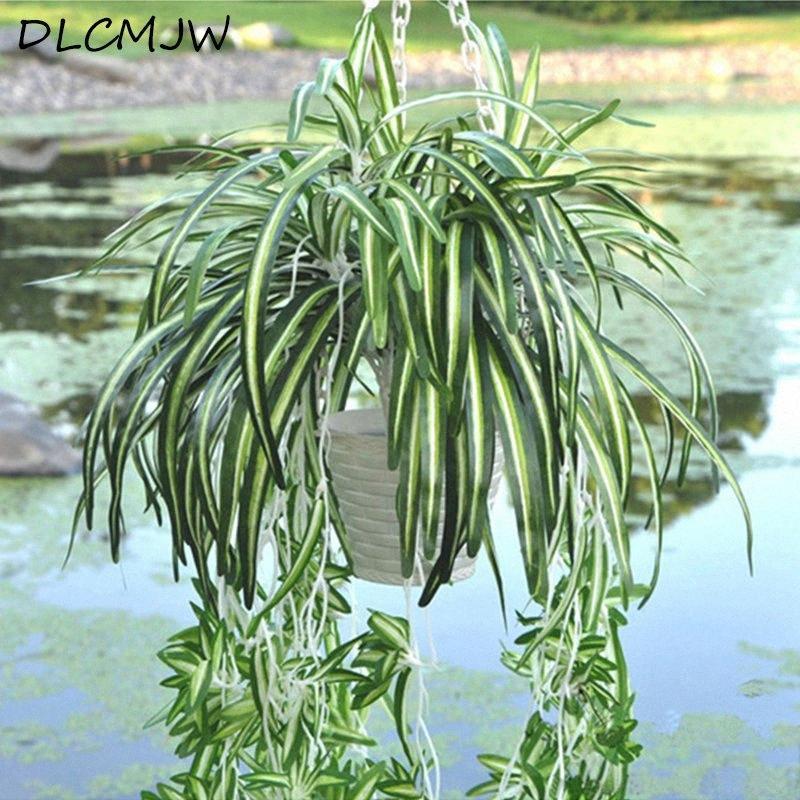 Planta artificial montado en la pared flores llorando exclusivo flores artificiales de seda de sauce plantas colgantes azul Pared hierba MRNW #
