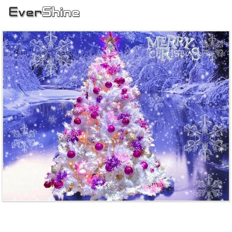 Evershine Алмазные Картина Scenery Фотографии Стразы Полный круглый алмаз вышивки крестом рождественской елки декор стен