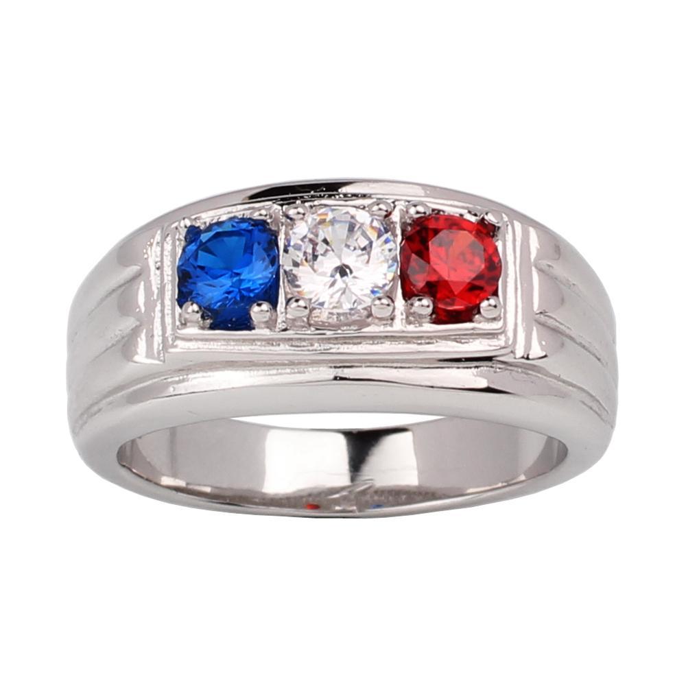 925 silberne Mann-Ring Blau-Weiß-Rot Drei-Stein Frankreich Flagge Farbe Größe 6-13 Schwere Finger Wear Schmuck R519SWG