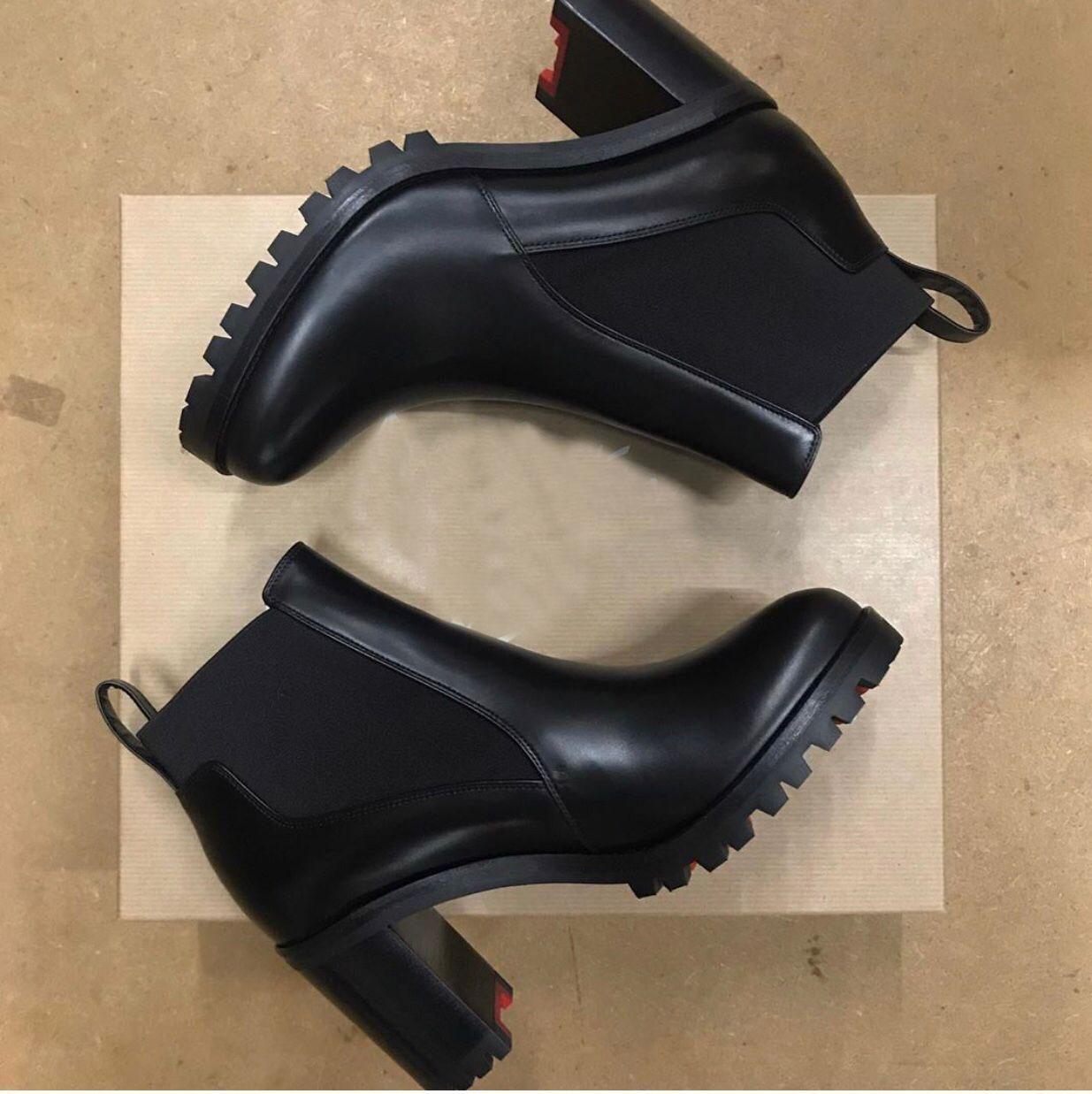 Lüks Moda Tasarımcısı Ayak Bileği Çizmeler Pabucu Sole Marchacroche Kadın Kırmızı Alt Boot Tıknaz Topuklu Moda Kadınlar Martin Çizmeler Kış Çizmeler
