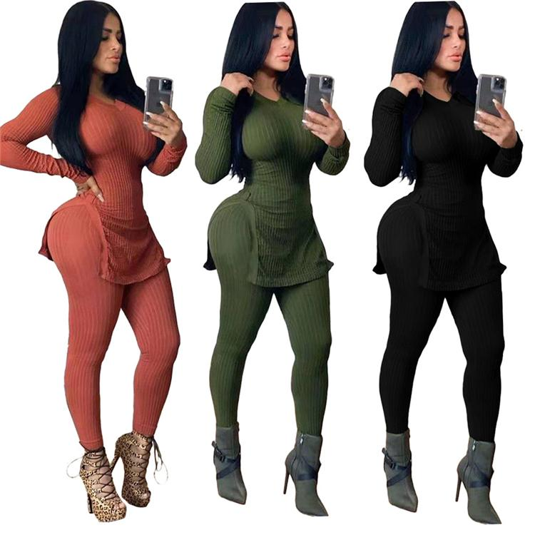 2020 Güz Rahat kıyafet Moda Tasarımı Hem Yarık 2 Adet Set For Women Uzun Kollu Çizgili Ve Uzun Pantolon Tops Seti Kıyafetler