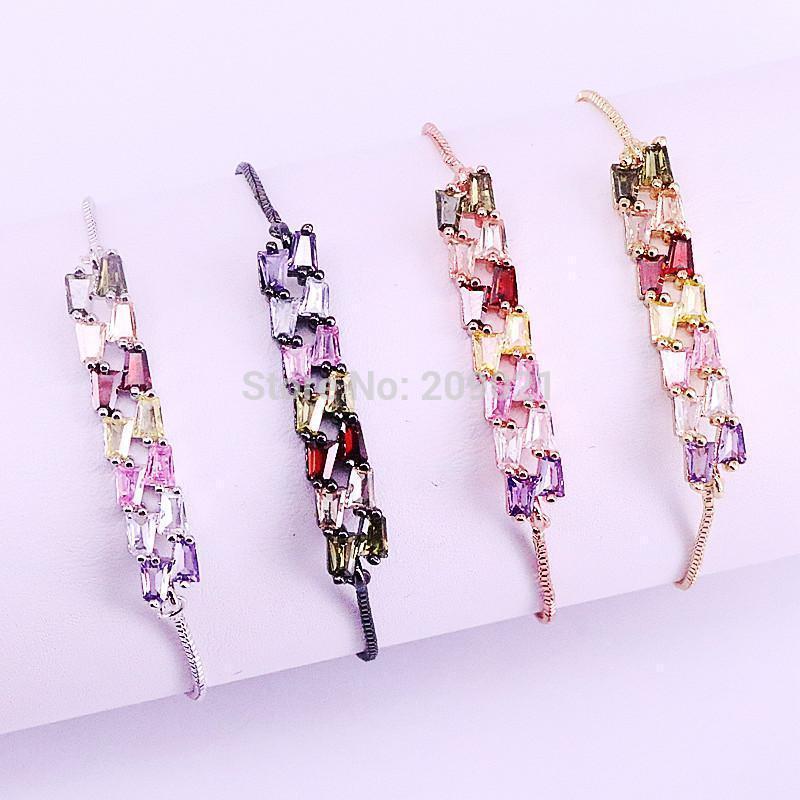 10pcs gioielli di moda multi colore arcobaleno cz micro connettore pavimentato braccialetti per le donne catena regolabile1