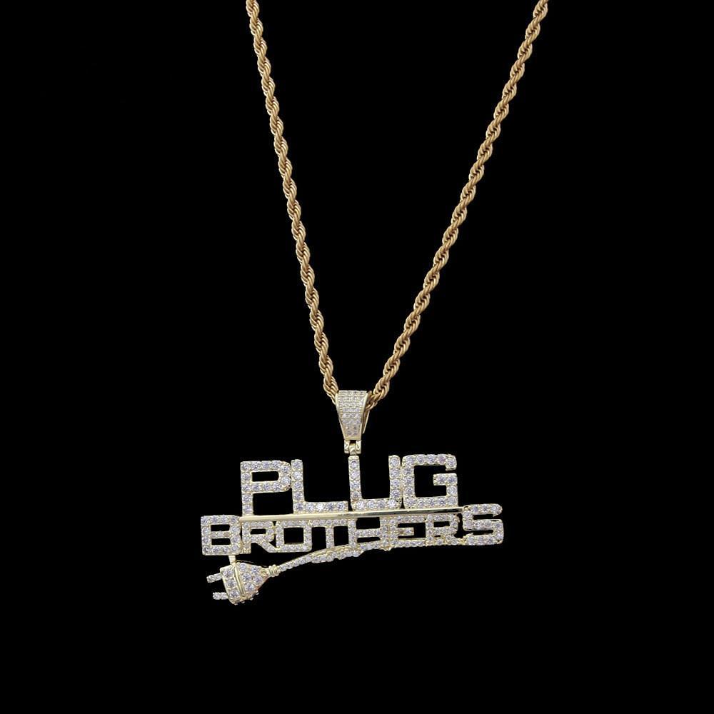Neue Männer und Frauen Hip Hop PlugBrothers Stecker Brief Anhänger Fully Zircon 14K Gold überzogener Anhänger