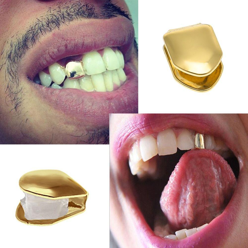 Mens di alta qualità oro argento placcato teeth Dental Grillzs Oro Grillz singole 2018 di nuovo modo di Hip Hop Jewelry
