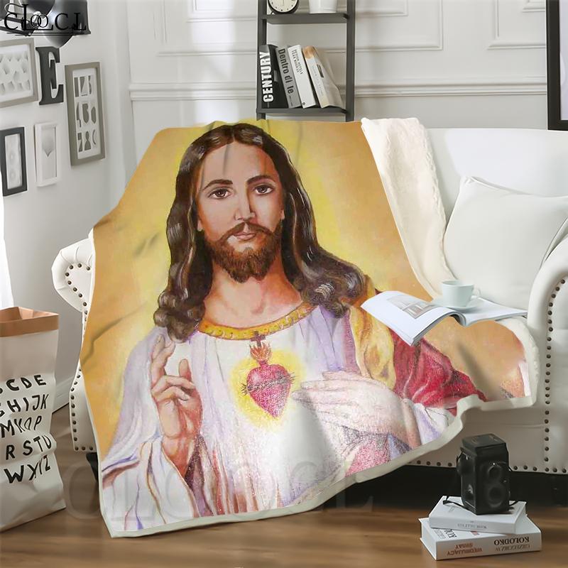 Cloocl Católico Jesús 3D Imprimir estilo Hip-Hop Estilo Aire acondicionado Manta Sofá Adolescentes Ropa de cama Lanzar Mantas de peluche Edredón