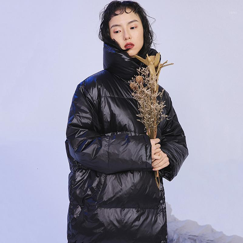 Lose Fit Black Big Size Long Warm Down Jacke Neue Langarm Warme Frauen Parkas Mode Flut Herbst Winter 20201