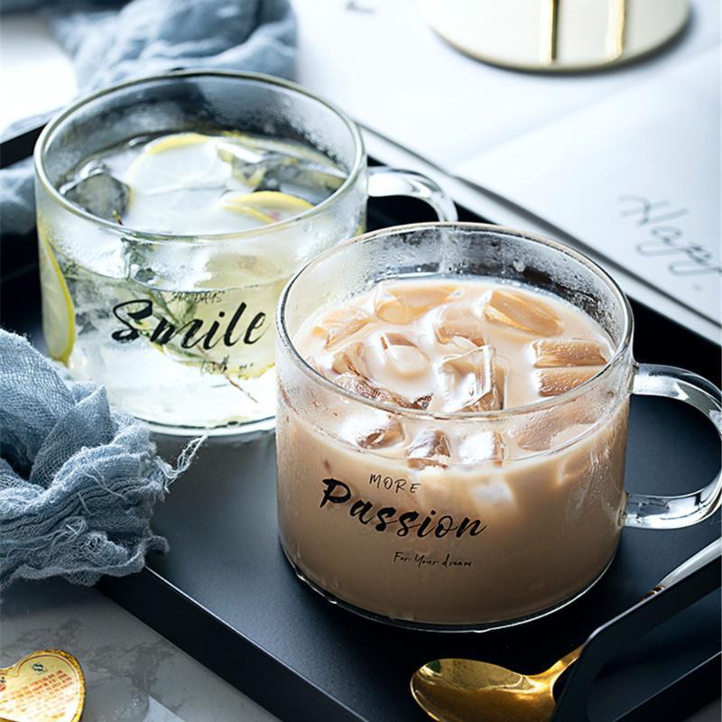 Cóctel de la taza del vidrio Negro Agua Carta leche taza de café con la manija de los amantes de cristal transparente Vaso del Ministerio del Interior regalos Pareja