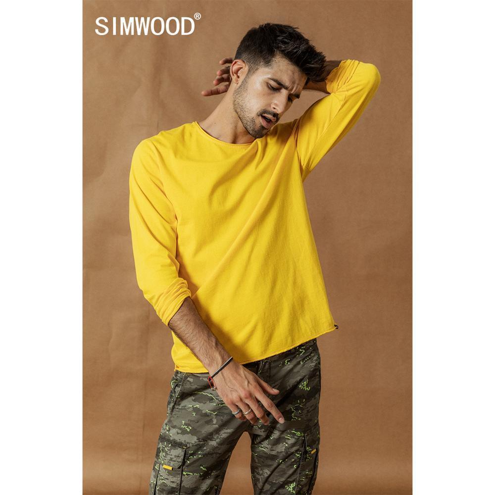 SIMWOOD весна зима новый длинный рукав твердых тенниска мужчин качество сырой рулон подол футболки текстура 100% хлопок вершины SI980585 201012