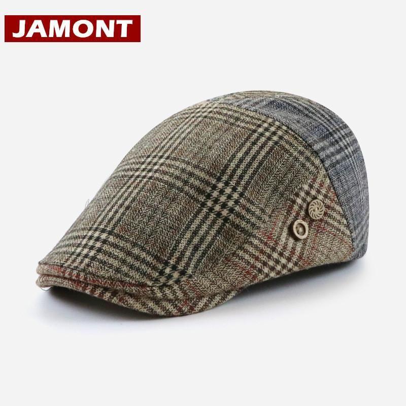 Berets [Jamont] Wysokiej Jakości 35% Wełna Kapelusz Beret Czapki Mężczyźni Kobiety Jesień Zima Visor Woolen Czapki Plaid Patch Retro Forward Casquette