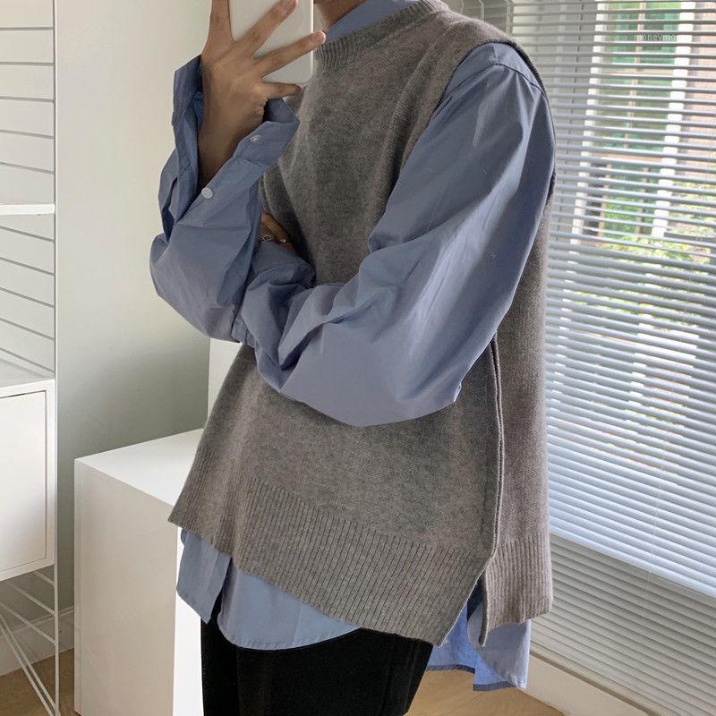 Мужские жилеты Осень Корейский свитер Жилет мужской Теплый Модный Сплошной Цвет Вязаный Пуловер Мужчины Уличная Одежда Дикий Свободные Вязаные Свитера Мужские