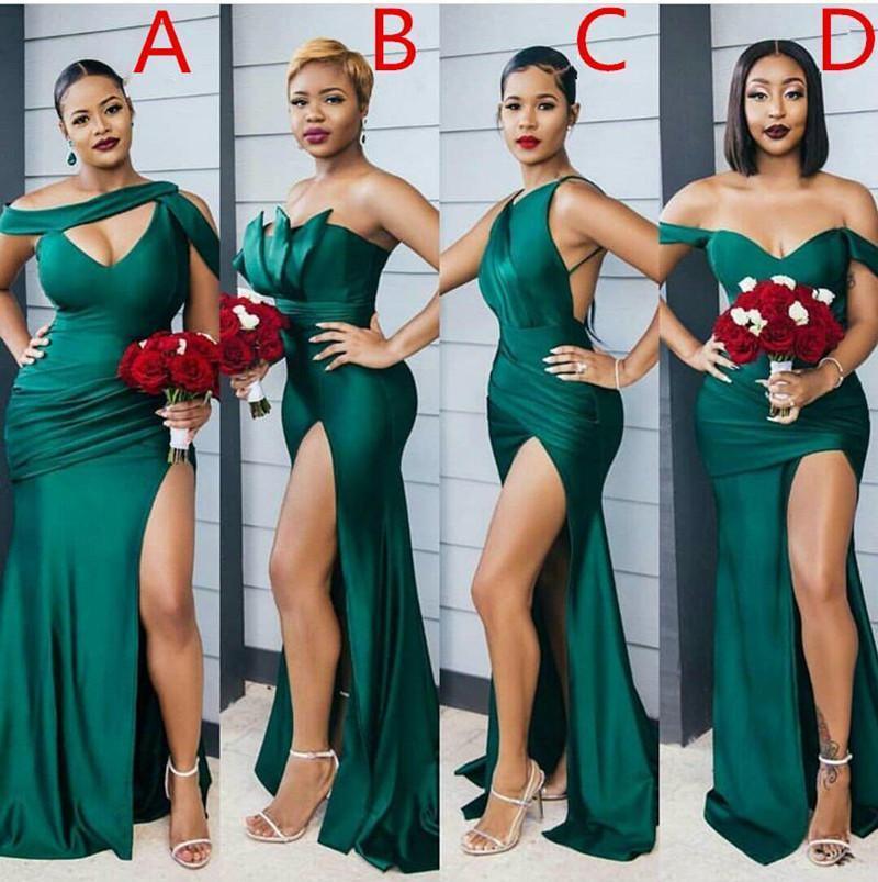 2021 скромный изумрудный зеленый боковой сплит длинные платья подружки невесты сексуальные свадебные вечеринки Разница в разрезе декольте дешевое платье невесты на заказ