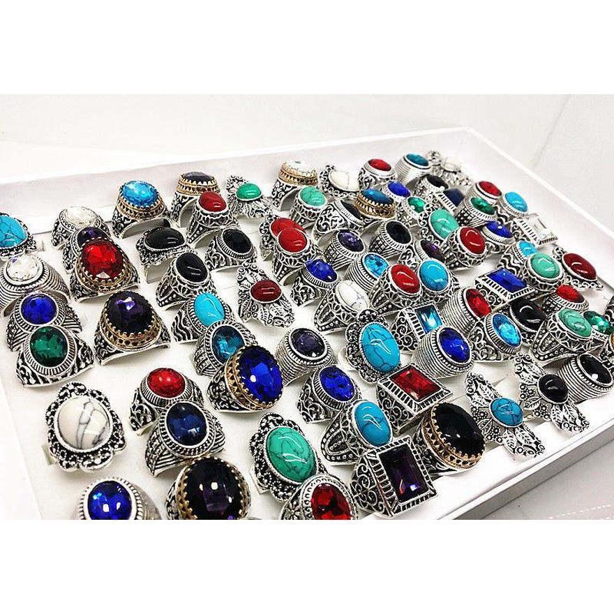 Venta al por mayor Muchas mezclas Estilo Antiguo Plata Vintage Joyería Piedra piedras preciosas de piedra para hombre WO WMTWTE Beauty888