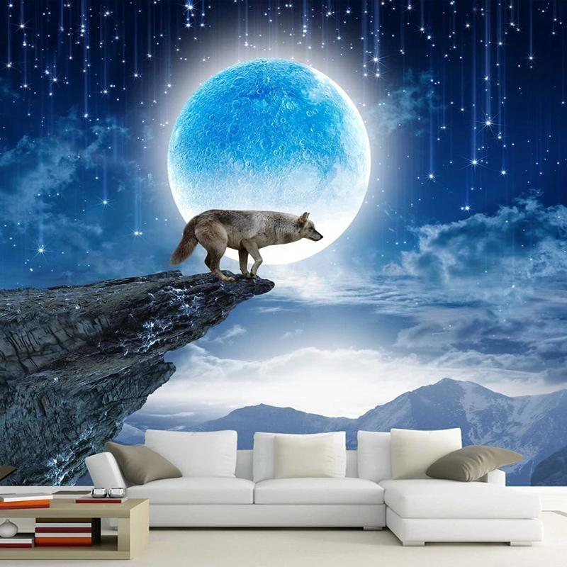 Custom Mural Wallpaper 3D Moon Animal Wolf Landscape Wall Sticker Living Room Bedroom Home Decor Self-Adhesive Waterproof Poster