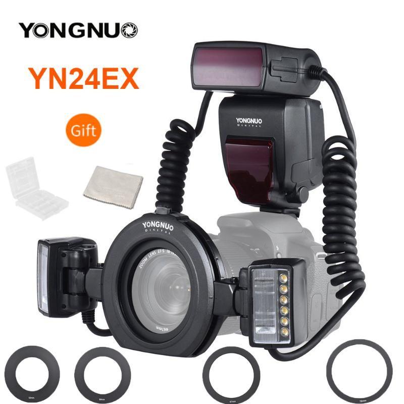 EOS 1DX 5D3 6D 7D 70D Kameralar için 2adet Flaş Başkanları ve 4 adet Adaptör Halkaları ile YONGNUO YN24EX e-TTL Flaş Speedlite 5600K