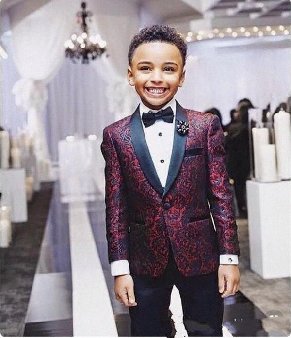 Boys Handsome 2 Pieces Burgundy Boy Formal Wear Black Lapel With Black Pants G6to#