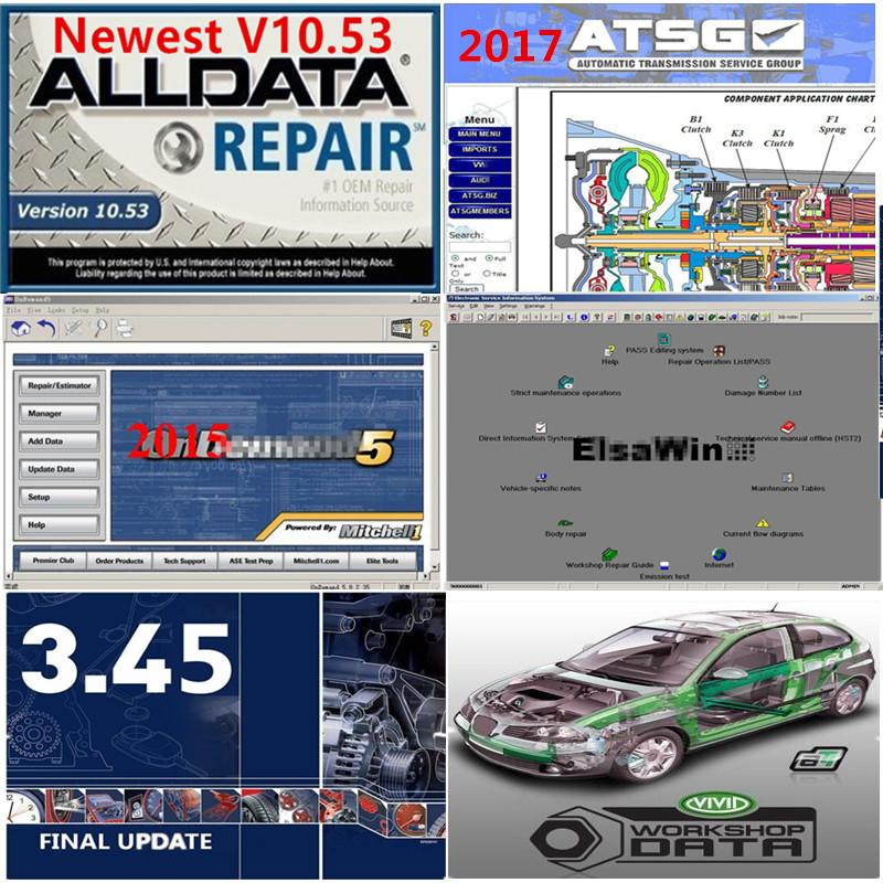 2020 Hot Auto-Reparatur Alldata Soft ware V10.53 alldata Selbstdiagnose alle Daten in 1TB HDD Kostenloser Support Installation von Windows 7 / 10.08