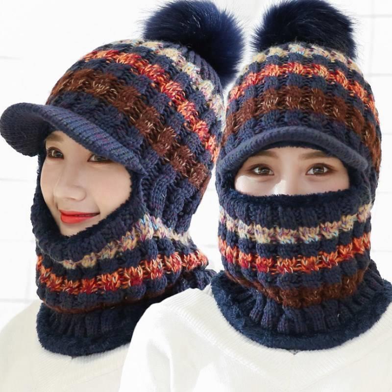 Mujer caliente Beanie sombrero de montar la nieve sombreros de lana de invierno Mujeres punto Hat Scarf La bola de pelo de Pom Pom Moda engrosamiento Collares