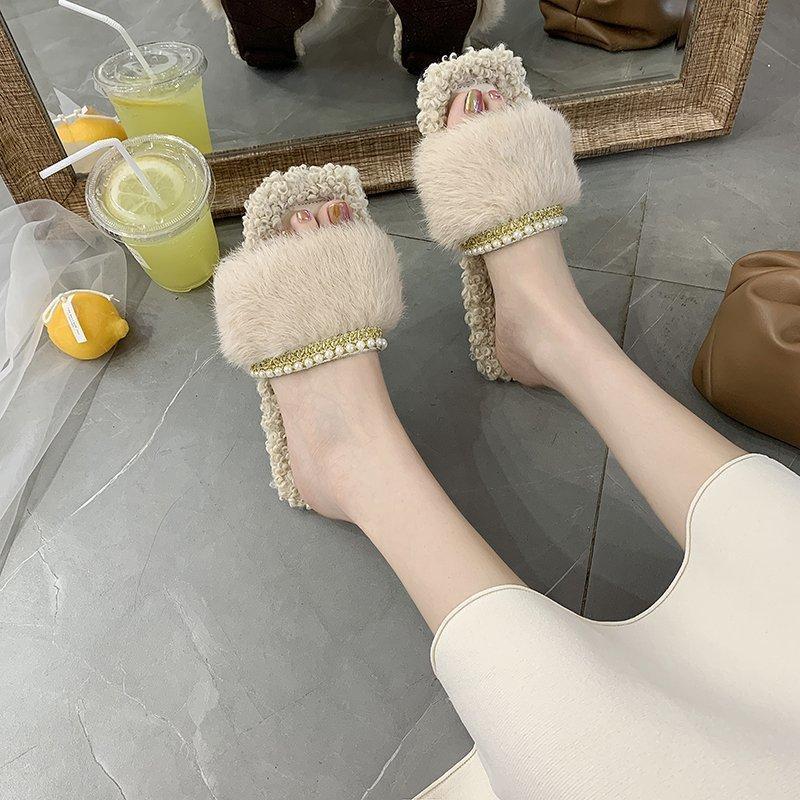 Hot Sale-Pelzhausschuhe Frauen Indoor Home Winter Schuhe für Frauen Warme Hausschuhe der Frauen Mode Schuhe weich Comfortable House Gelegenheits