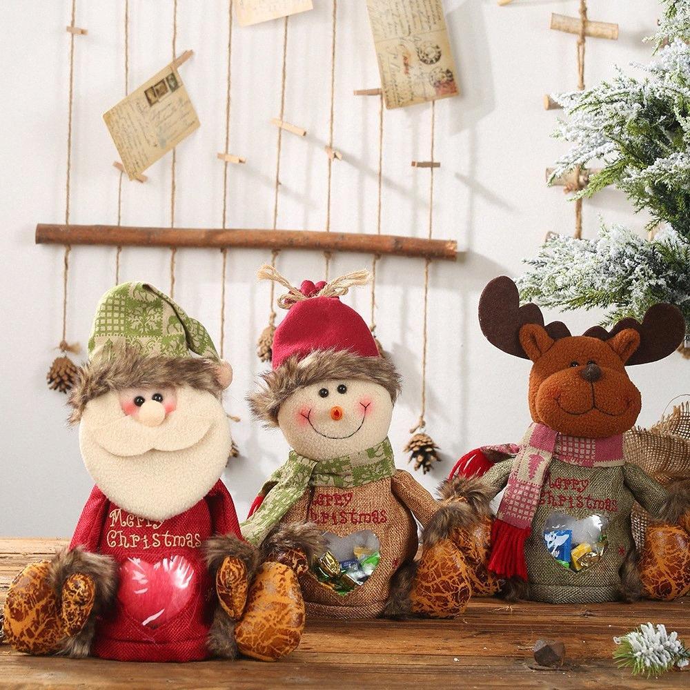 Новогодние украшения Drawstring мешок подарка Большие конфеты Праздник Творческий Кукла Яблоко Детский мешок подарка Xmas Supplies 20 J7nF #
