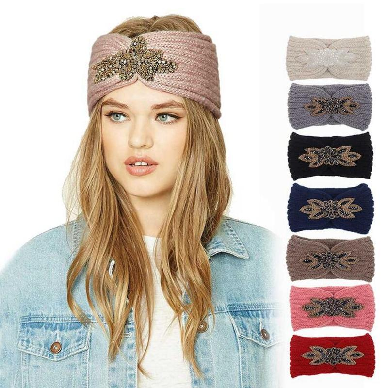 7 farben diamant strick häkeln stirnband frauen winter sport haarband turban yoga kopfband ohrmuffen kappe stirnbänder party favory yya536