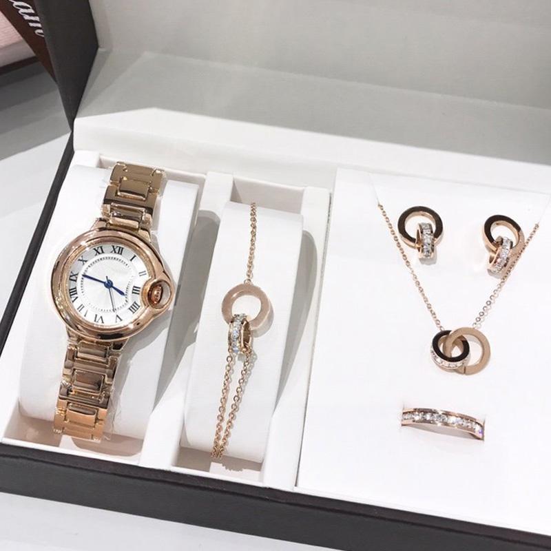 2021 새로운 패션 고품질 레이디 시계 보석 세트 반지 목걸이 귀걸이 팔찌 여자 선물 클래식 손목 시계 여자 주얼리