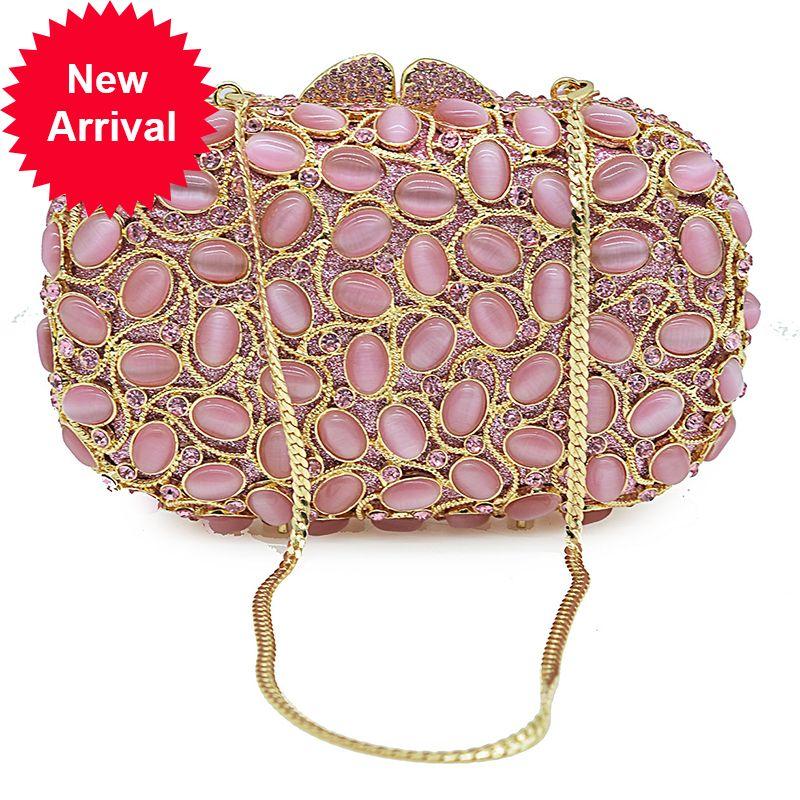Lujo oro metal rosado rhinestone noche embrague hueco hacia fuera mujer fiesta monedero cena bolsos de moda mujer bolso de hombro