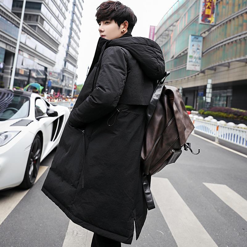 Invierno 2020 nueva pato blanco abajo cubre la tendencia de los hombres de la chaqueta de los hombres abajo de media y larga con capucha gruesa jóvenes coreanos