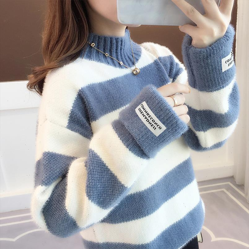 Sweater Femmes Turtleneck Pull Pull Stripe Pull épais Pull imitaté Mink Pull Sweter Femmes Vêtements Vestidos LXJ9005