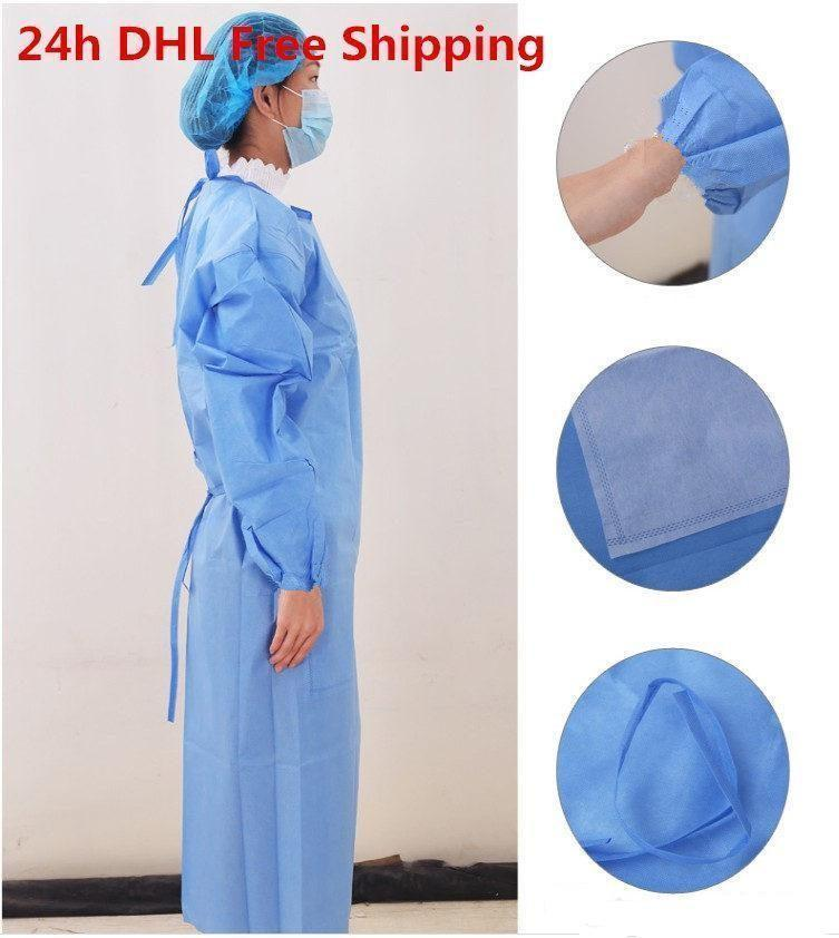 DHL Ship!Waterproof Isolation Clothes Frenulum Protective Clothing Disposable Gowns One Time Non woven Fabric Protection Suits