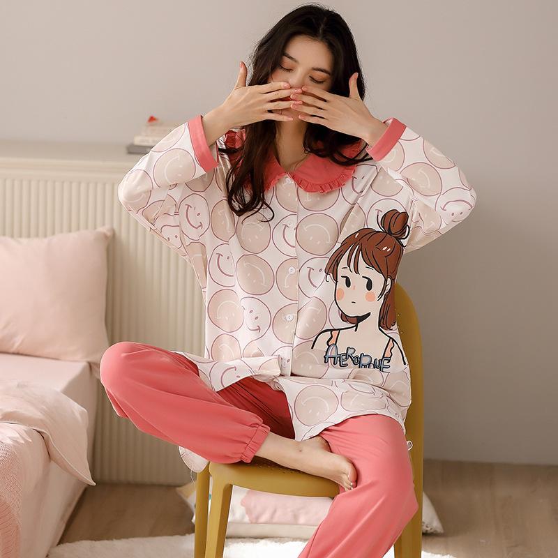 Женская ночная одежда с длинным рукавом Pajamas весна осень домашняя одежда хлопчатобумажная одежда лаундж пижамы для женщин 2 штурок набор pijamas
