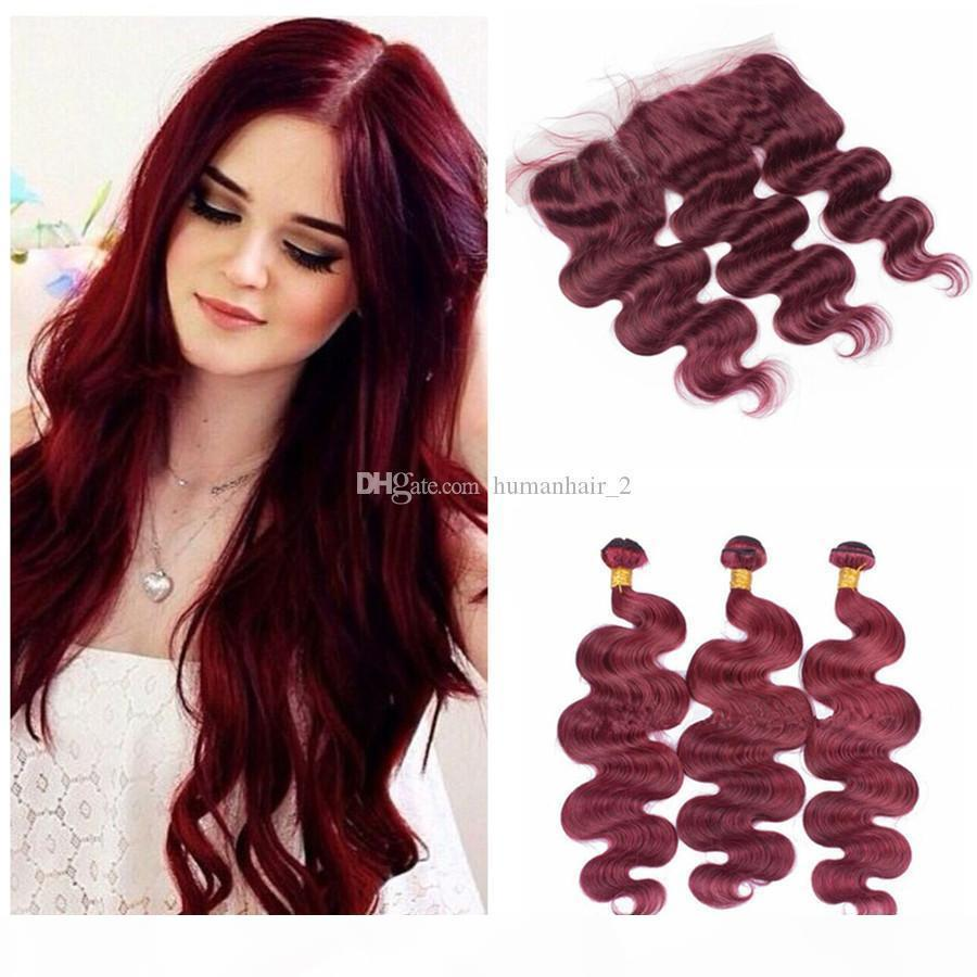 99J Bourgogne Human Hair Theft Bundles avec frontaux Full Frontaux Tissu pour cheveux roux avec fermeture frontale Péruvienne Vierge Cheveux Vague Corps 8A Grade