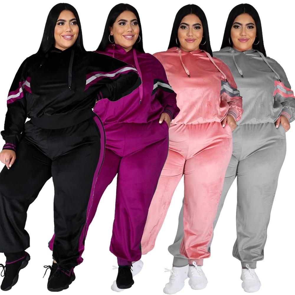 Tracksuiti con cappuccio di dimensioni più Delle donne autunno inverno inverno allentato a due pezzi con cappuccio manica lunga e pantaloni ampi per le donne