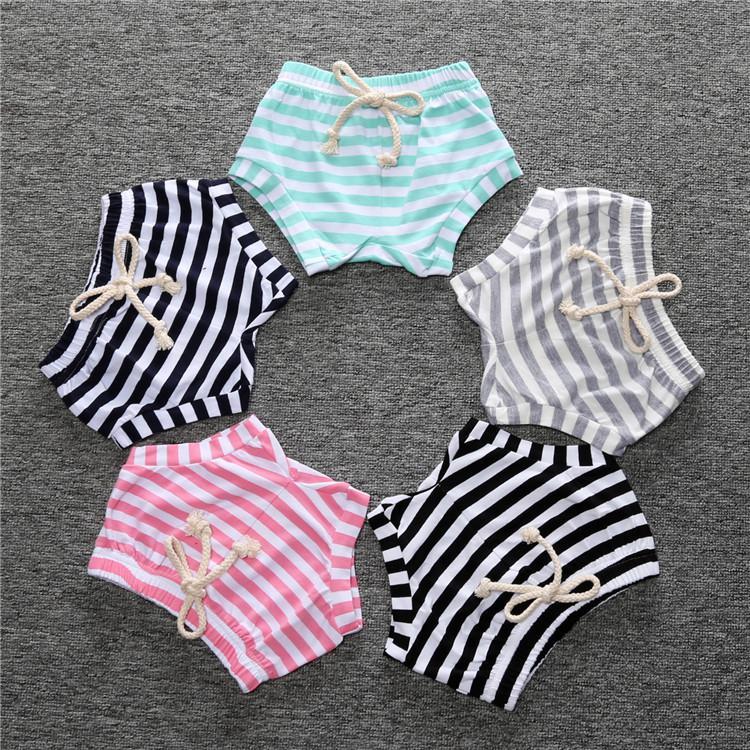 KT Factory INS Babt Girls Shorts children Stripes Straps Pants Cotton PP Trousers Diaper Cover Underpants