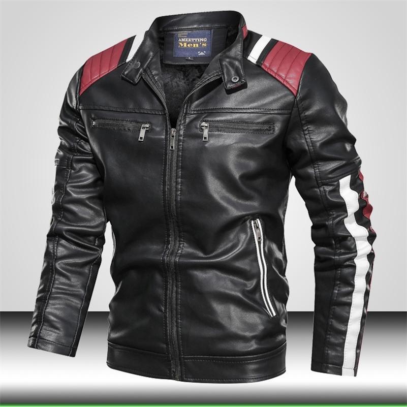 Chaqueta de cuero de la motocicleta para hombre Biker Outwear Chaqueta delgada casual Hombres Spring Cuero Chaquetas Diseño Bomber Coat CHAQUTA HOMBRE 201114