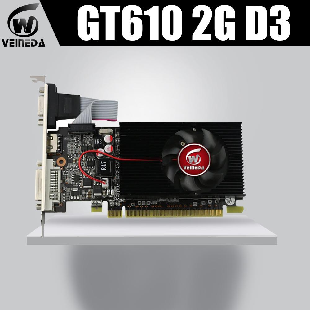 Veineda tarjetas de vídeo VGA GT610 2 GB DDR3 700 / 1000MHz PC de escritorio PCI Express 2.0X16