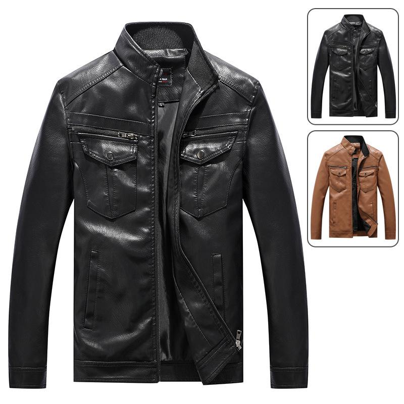 High Quality Men Leather Jackets Motorcycles British Business Casual Fashion Tactical Jacket PU Mens Bomber Jacket