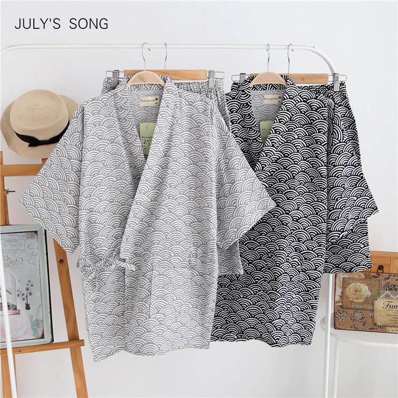 Temmuz Şarkı Harajuku KIMINO Pijama Set Erkek Japon V Boyun Kısa Kollu Gecelik Elastik Bel Erkekler Pijama Homewear Yaz 201109